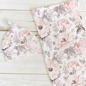 New cotton knit swaddle and bow set
